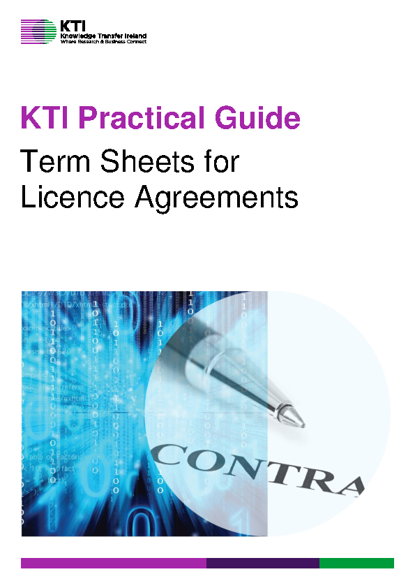 KTI Practical Guide to Term Sheets for Licence Agreements front page preview